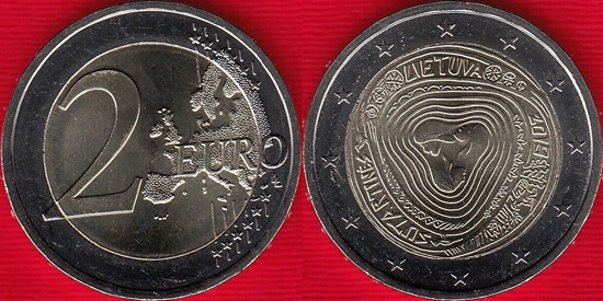 Lithuania bimetallic 2 euro 2019 Sutartinės multipart songs