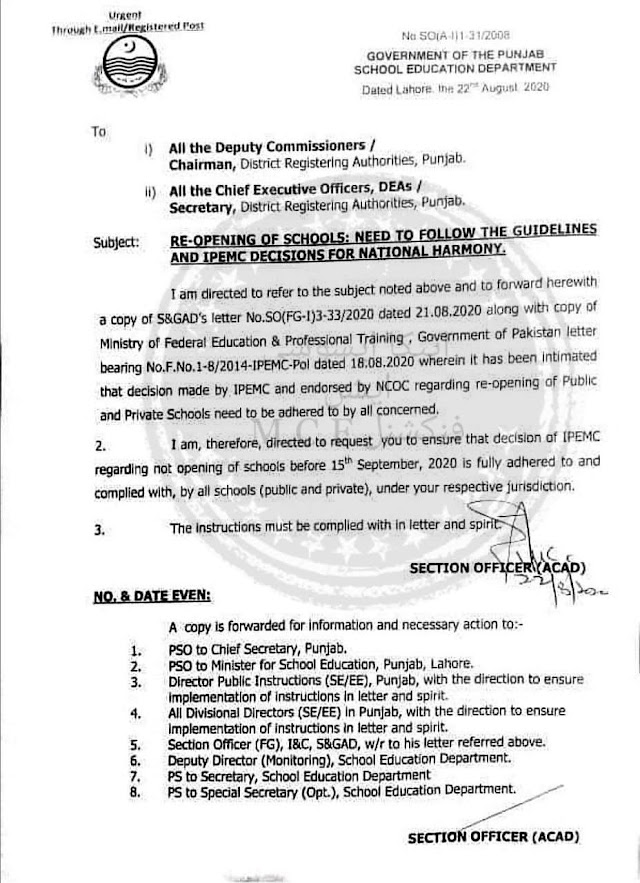 REOPENING OF PUBLIC AND PRIVATE SCHOOLS