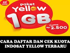 Cara Daftar Dan Cek Kuota Internet Indosat Yellow Terbaru