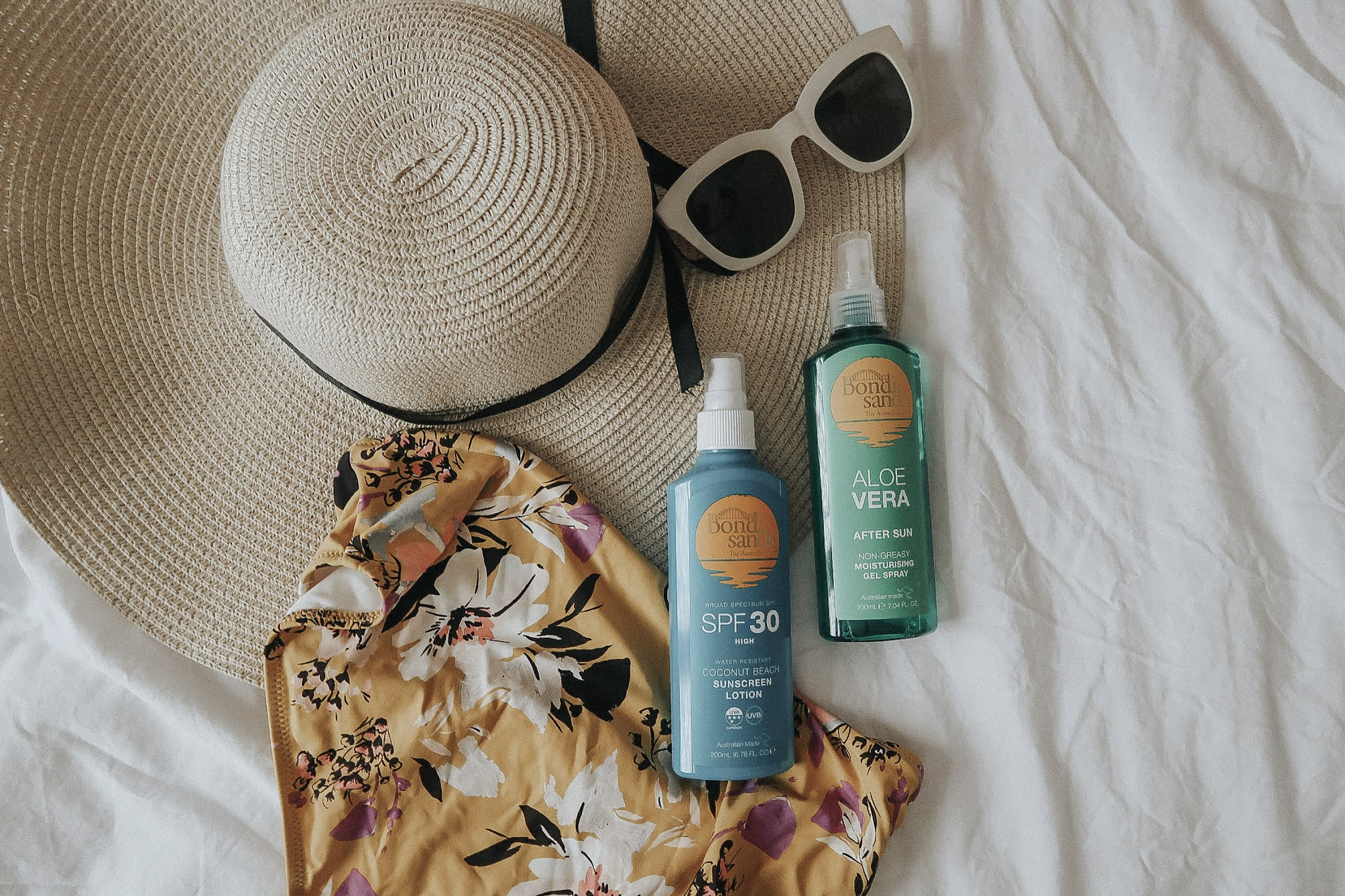 Two bottles of Bondi Sands. An after sun lotion and sunscreen lotion.