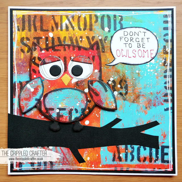 Owl themed Gel Printed card by Sam Lewis AKA The Crippled Crafter | DecoArt