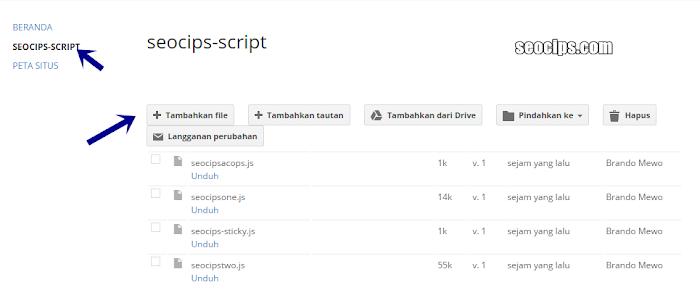 Upload file ke google site