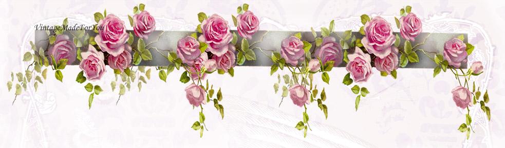 Free Blog Header Shabby Chic Vintage Roses