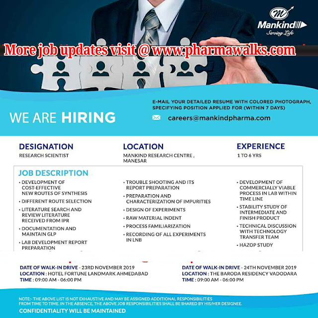 Mankind Pharma walk-in interview for Research Scientist on 23rd & 24th Nov' 2019