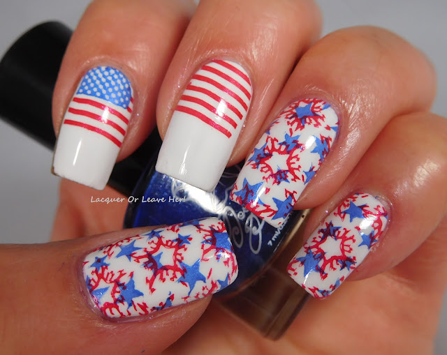 Moonflower Polish Flor de Maga, Calles del Viejo San Juan, $ Cavernas del Rio Camuy + UberChic Beauty Fourth Of July + Sally Hansen Get Mod