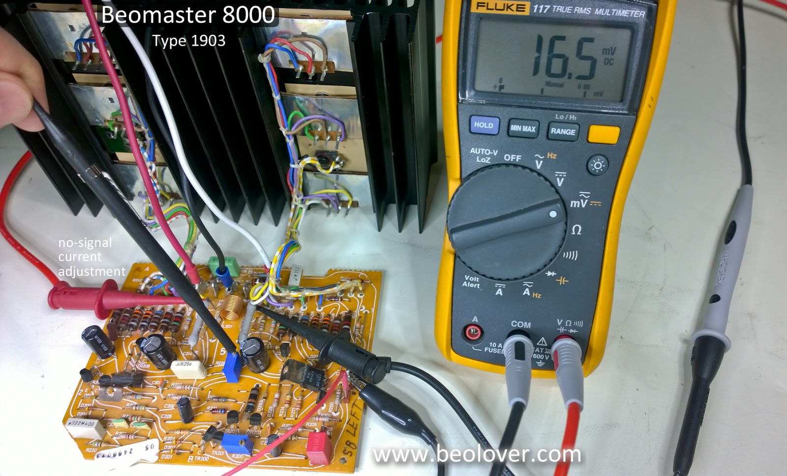 Beolover Beomaster 8000 Output Amplifier Board Initial Testing Multi Wiring Left Channel Amp No Signal Current 02b