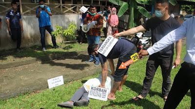 Polresta Deli Serdang Gelar Rekonstruksi Ulang Kasus Pembunuhan Seorang Warga Bangun Purba