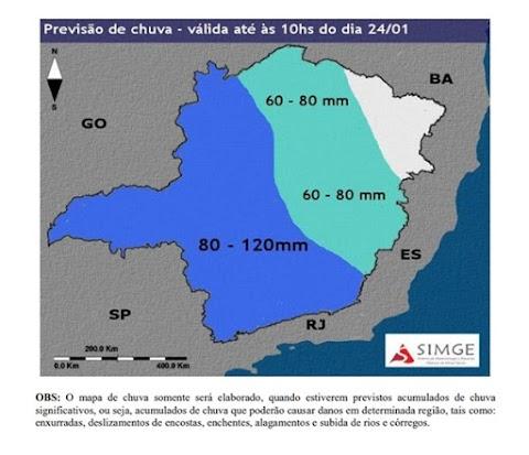 Cidades do Sul de MG podem ter fortes chuvas nas próximas 24 horas, alerta Defesa Civil