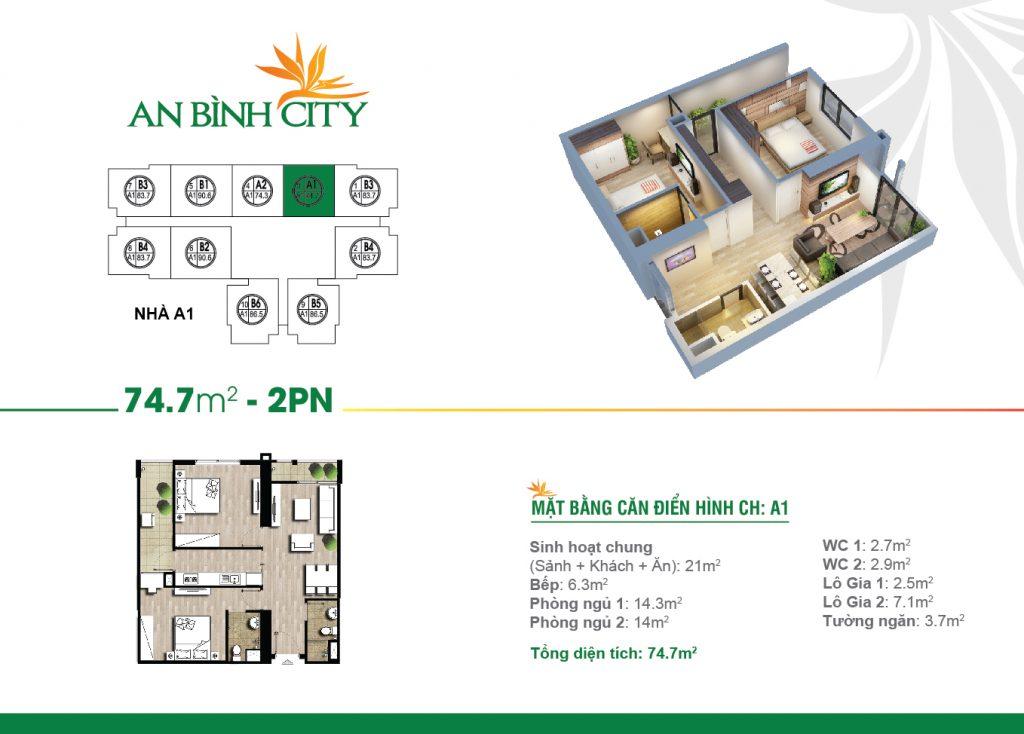 Căn hộ 74 m2 tại chung cư An Bình City -232 phạm Văn Đồng