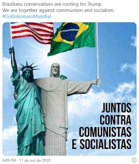 NÓS ESTAMOS JUNTOS CONTRA COMUNISTAS E SOCIALISTAS (We are together against communism and socialism) #GoBolsonaroMundial