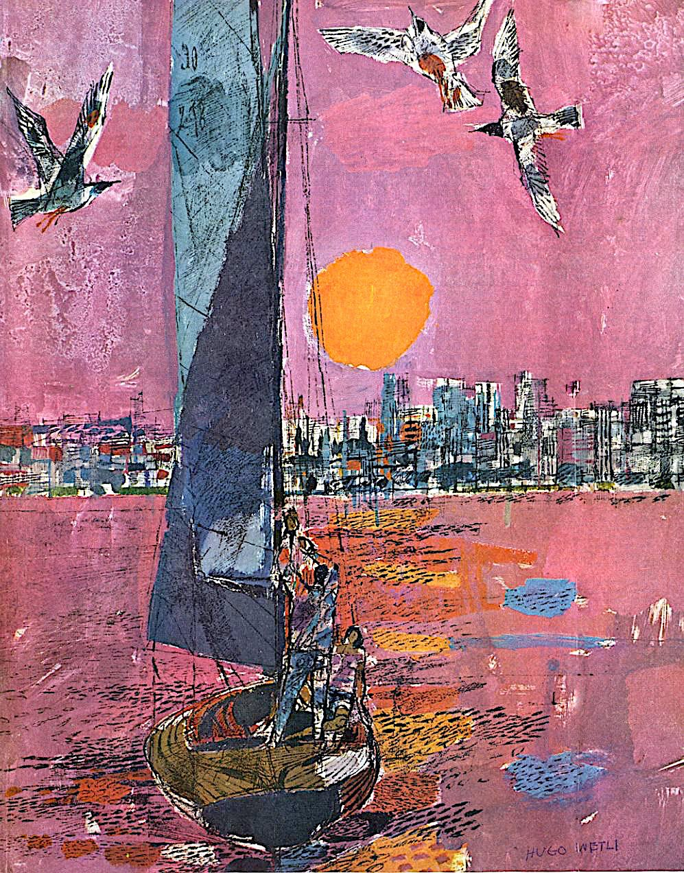 a Hugo Wetli travel poster illustration of a sailboat in an urban harbour