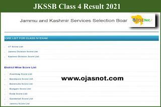 JKSSB Class IV Result 2021 PDF Download