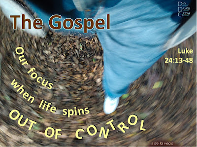 Picture of ground spinning with words: The Gospel: Our focus when life spins out of control (Luke 24:13-48)