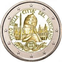 vatikaani 2 euroa kolikko vatikaanivaltio 90 vuotta 2019