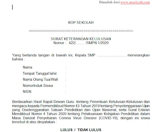 Contoh Surat Keterangan Lulus SMP 2020