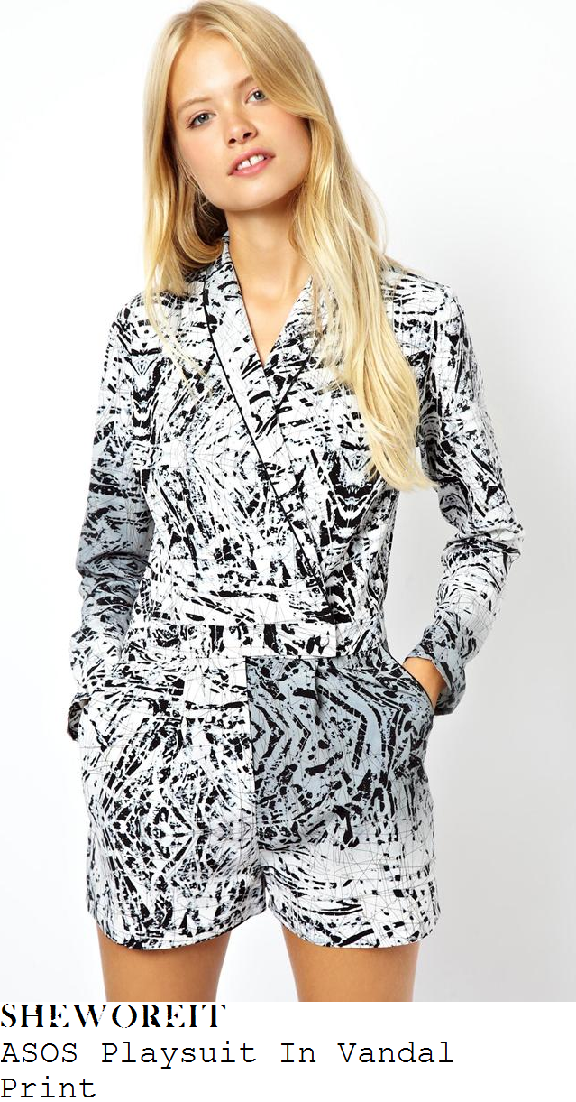 perrie-edwards-black-and-white-paint-scratch-print-playsuit