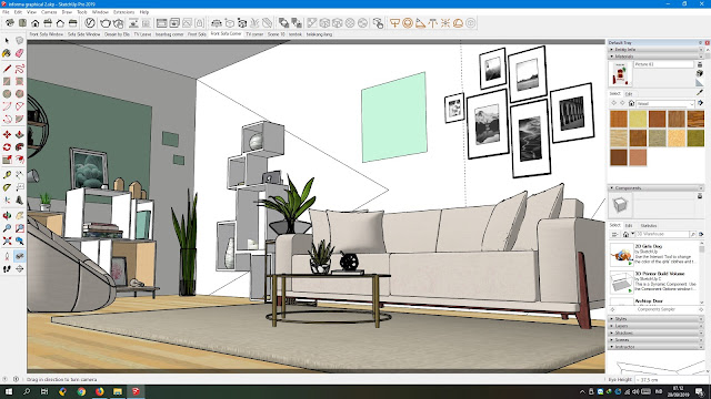 Sketsa ruang tamu tema graphical pop menggunakan Google Sketchup