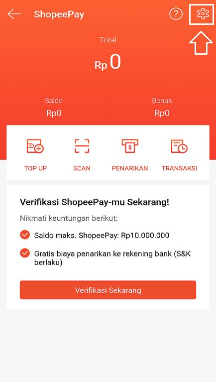 Pengaturan Akun Layanan ShopeePay di Aplikasi Marketplace Shopee.