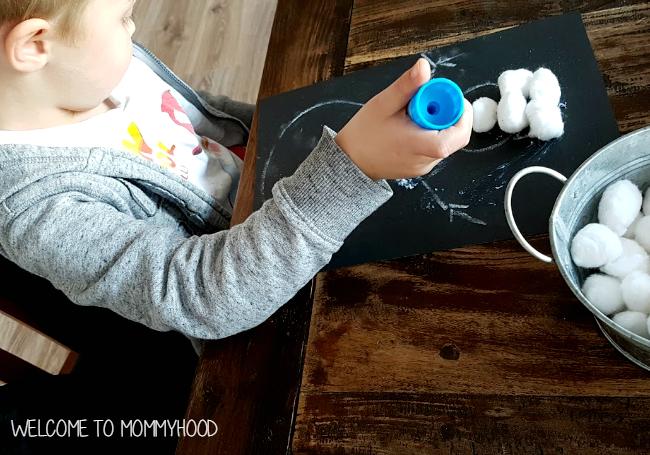 Winter activities: snowman craft by Welcome to Mommyhood #winteractivities, #preschoolactivities, #christmasactivities, #finemotor, #preschool, #artsandcrafts