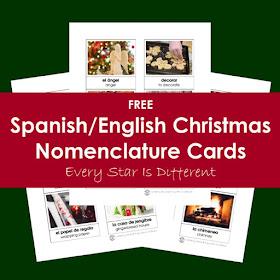 Christmas Vocabulary in Spanish-FREE Montessori Nomenclature Cards