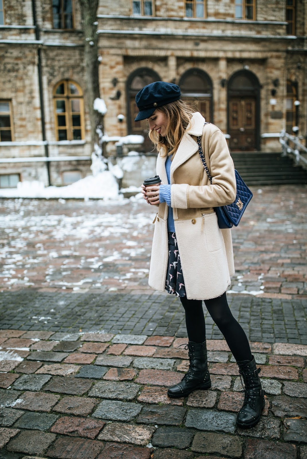 shearling jacket newsboy cap fall street style