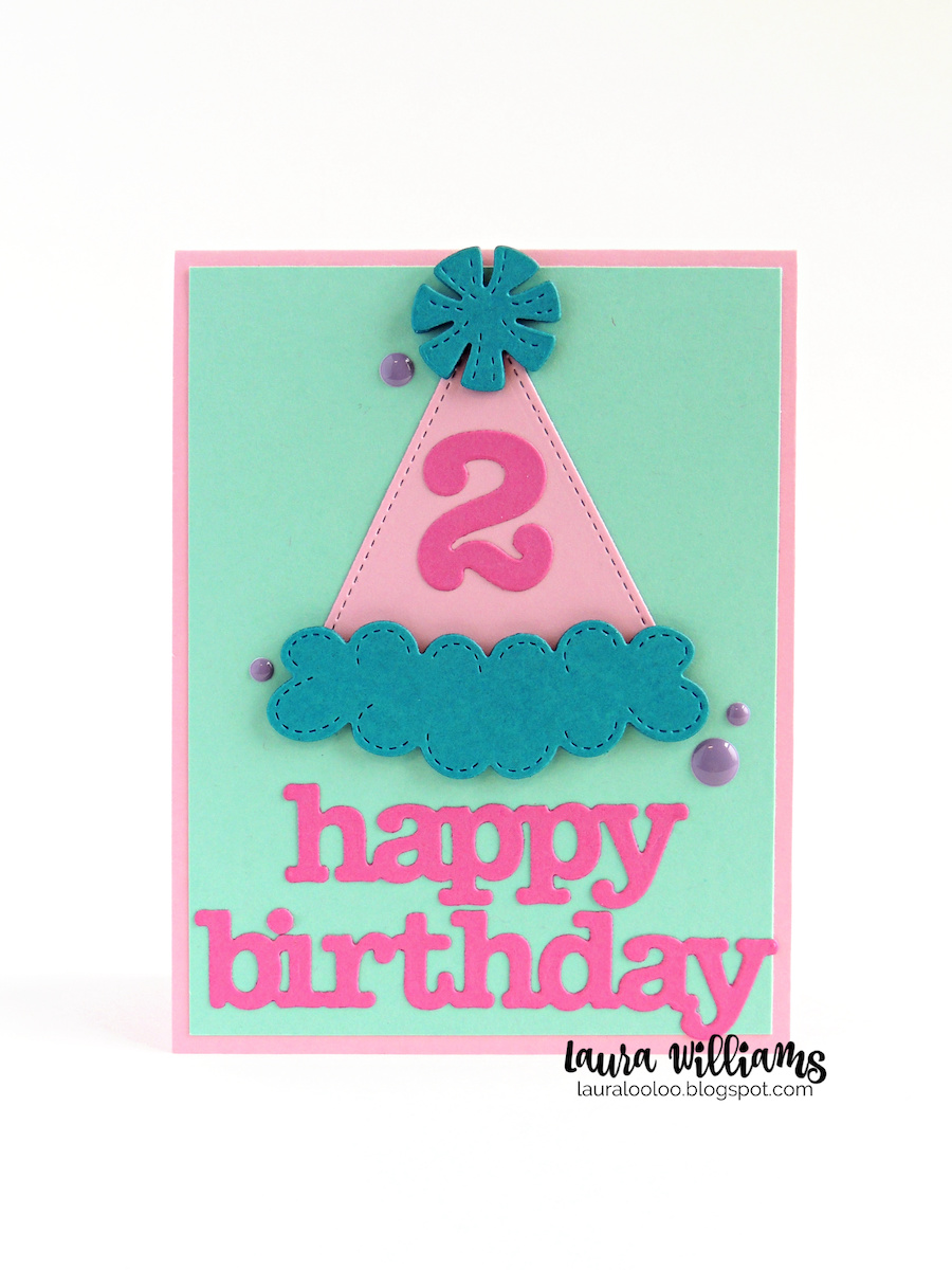 Happy Birthday #2! Stop by my blog for lots of sweet birthday card ideas using the party hat die plus number and birthday word dies from Impression Obsession.