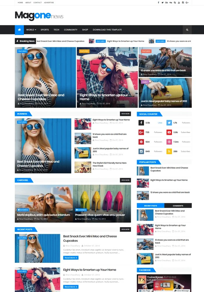 MagOne News Best Free Responsive Blogger Templates