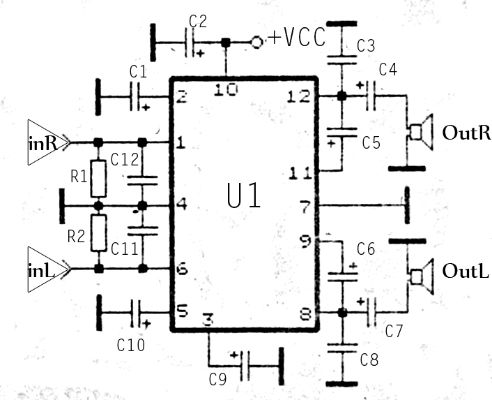 stereo tda2822 audio power amplifier circuit