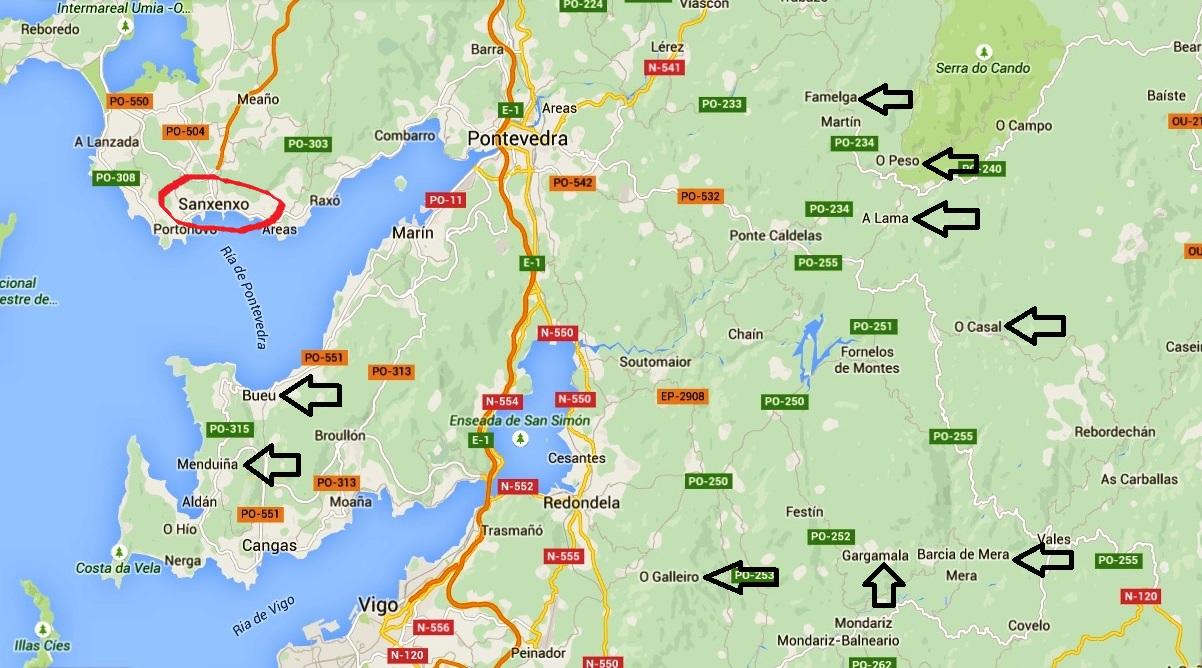 sanxenxo espanha mapa Bairro do Oriente: PortuGaliza (pelos caminhos de Santiago)   parte I sanxenxo espanha mapa