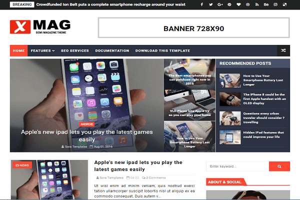 Xmag Premium Blogger Template Free Download