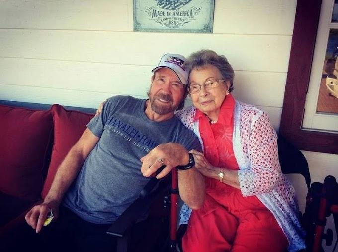 """""""Minha mãe orou por mim a vida toda"""", diz Chuck Norris em homenagem à mãe de 100 anos"""