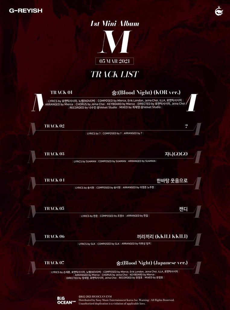 g-reyish m comeback tracklist