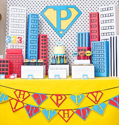 Vintage POP ART Super Hero - Super P's 3rd Birthday
