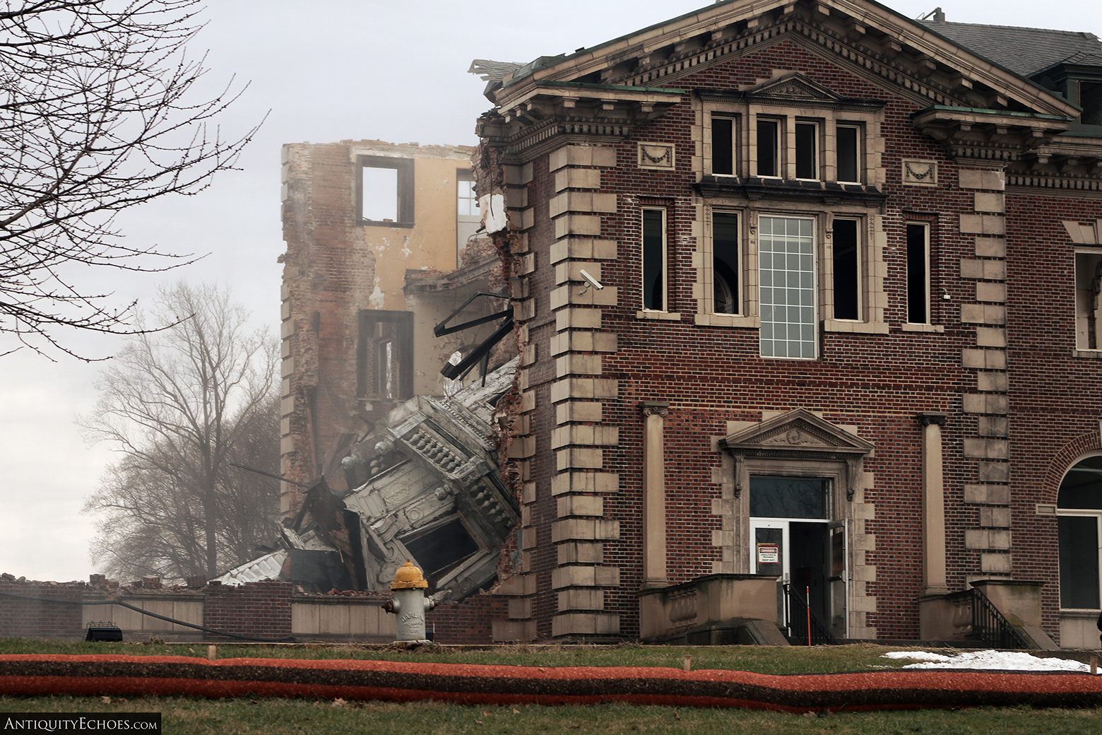Allentown State Hospital - Demolition - Spire Collapsed into Lobby