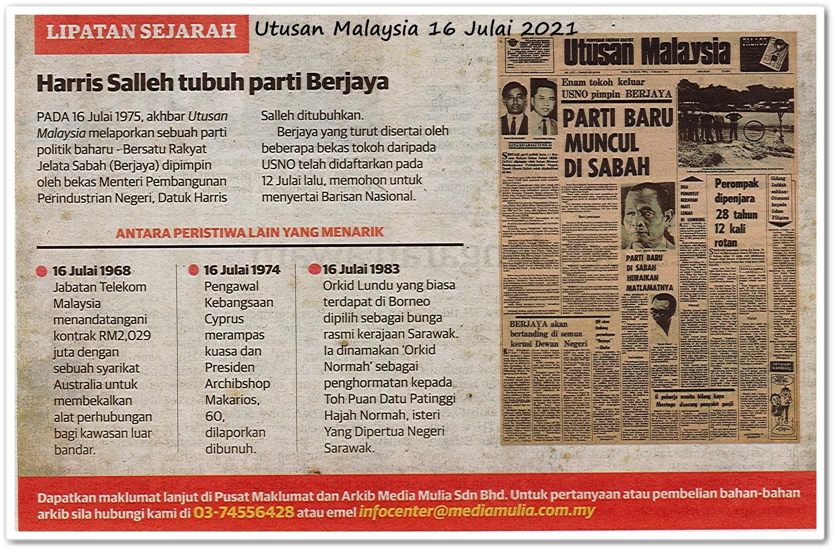 Lipatan sejarah 16 Julai - Keratan akhbar Utusan Malaysia 16 Julai 2021
