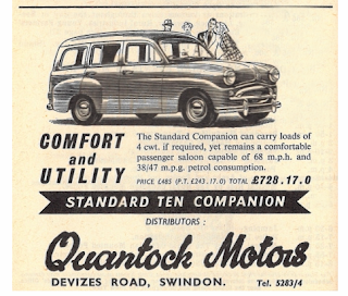 Quantock Motors, Swindon 1957 advertisement