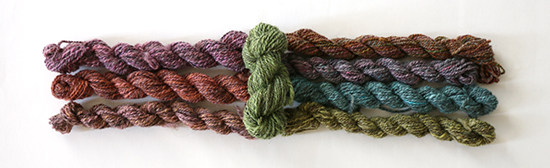 One-Color Skeins of Hand Dyed Handspun Wool Yarn