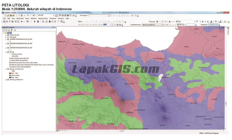 SHP Peta Litologi Seluruh Indonesia Format Shapefile