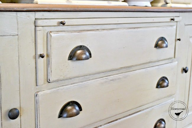 painted sideboard with pewter cup pulls
