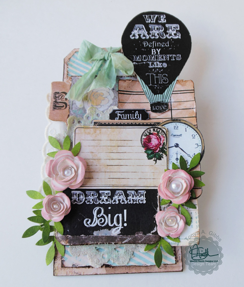 Tag created by Tonya A. Gibbs  from scraps of the Nirvana Line by Marion Smith Designs.  #marionsmithdesigns #nirvana #tag #papercraft #scrapbook #psychomoms #TonyaGibbs
