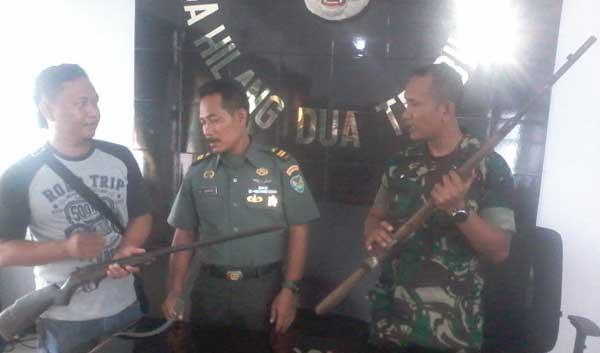 pihak keamanan majalengka amankan dua senjata laras panjang