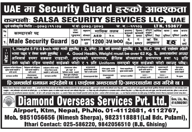 Jobs in UAE for Nepali, Security Guard Job, Salary Rs 35,700