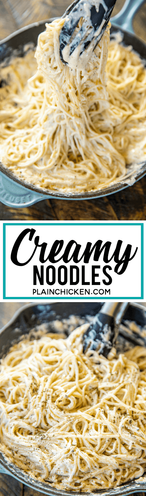 Creamy Noodles - a quick and easy side dish! Ready to eat in about 15 minutes! Spaghetti, cream cheese, milk, parmesan, garlic, butter, cajun seasoning, onion, and parsley. Goes with everything! Steak, chicken, pork. Great side dish or meatless main dish! #pasta #sidedish