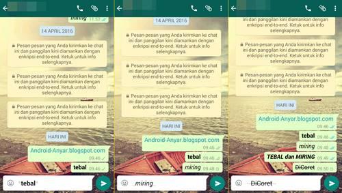 Cara menulis chat tebal miring coret di WA android