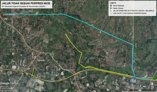 Bukti Jalur SUTET warna Biru Sesuai Perpres No. 60 Tahun 2020 dan Warna Kuning Disebut Sebagai Fakta Pengerjaan Di Lapangan.