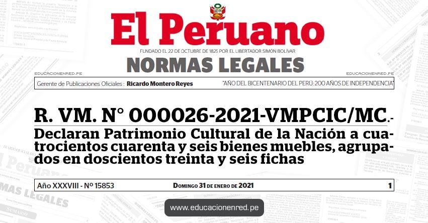R. VM. N° 000026-2021-VMPCIC/MC.- Declaran Patrimonio Cultural de la Nación a cuatrocientos cuarenta y seis bienes muebles, agrupados en doscientos treinta y seis fichas