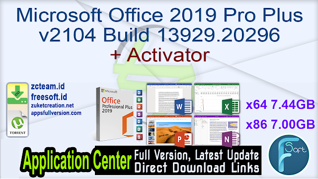 Microsoft Office 2019 Pro Plus v2104 Build 13929.20296 + Activator_ ZcTeam.id