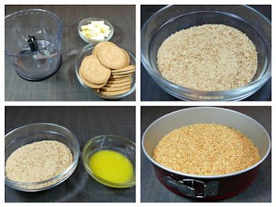 Hacemos la base para la tarta de queso mascarpone y dulce de leche