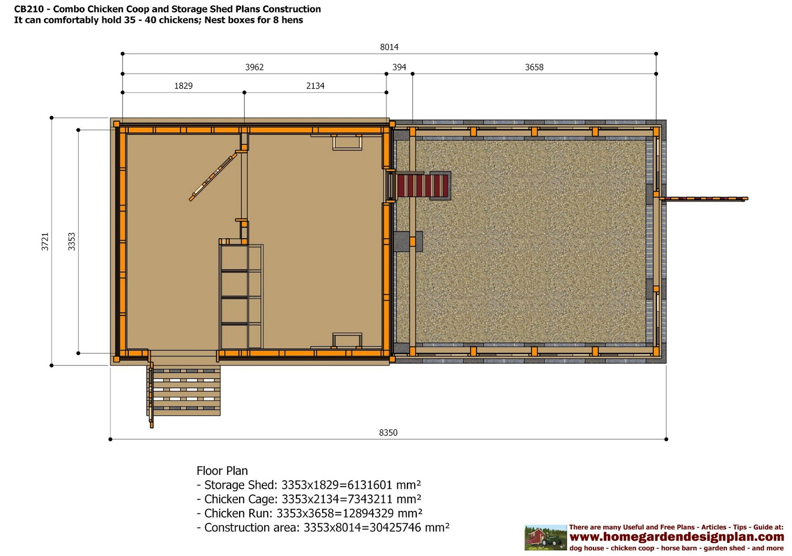 Home garden plans cb210 combo plans chicken coop for Dog kennel shed combo plans