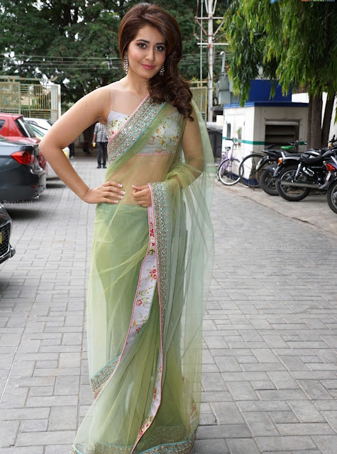 Rashi Khanna in Pastel Green Net Saree Designed by Anushree Reddy